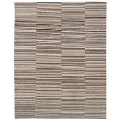Modern Striped Kilim Handmade Beige Wool Rug