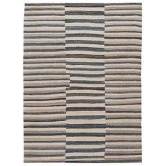 Modern Striped Kilim Handmade Wool Rug