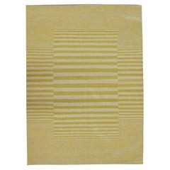 Modern Striped Kilim Rug Handmade Carpet Mustard Yellow Wool Area Rug