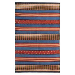 Modern Striped Kilim Rug Handmade Carpet Transitional Flat-Woven Area Rug