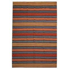 Modern Striped Kilim Rug, Handmade Flatwoven Red Blue Wool Area Rug