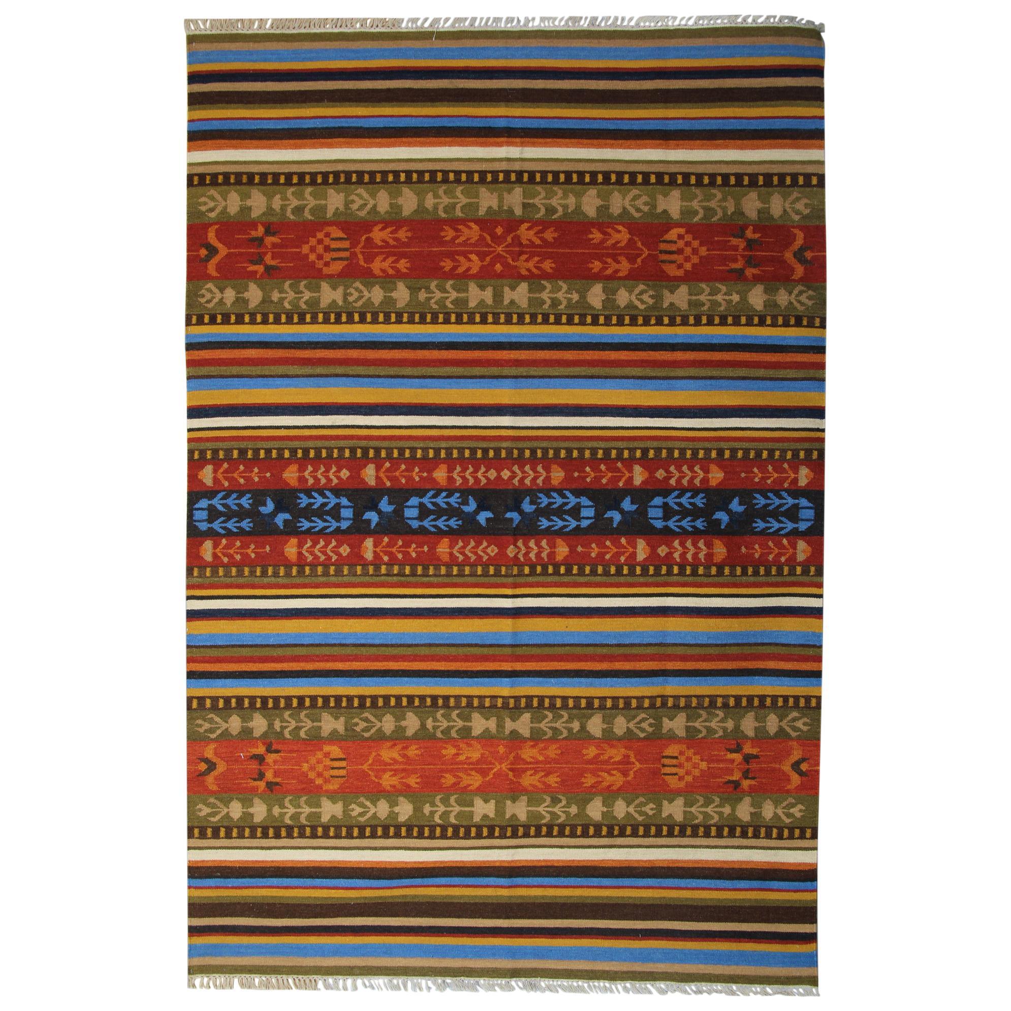 Modern Striped Kilim Rug, Handmade Geometric Carpet Kilim Area Rug