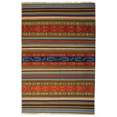 Modern Striped Kilim Rug, Handmade Geometric Carpet Kilim Area Rug