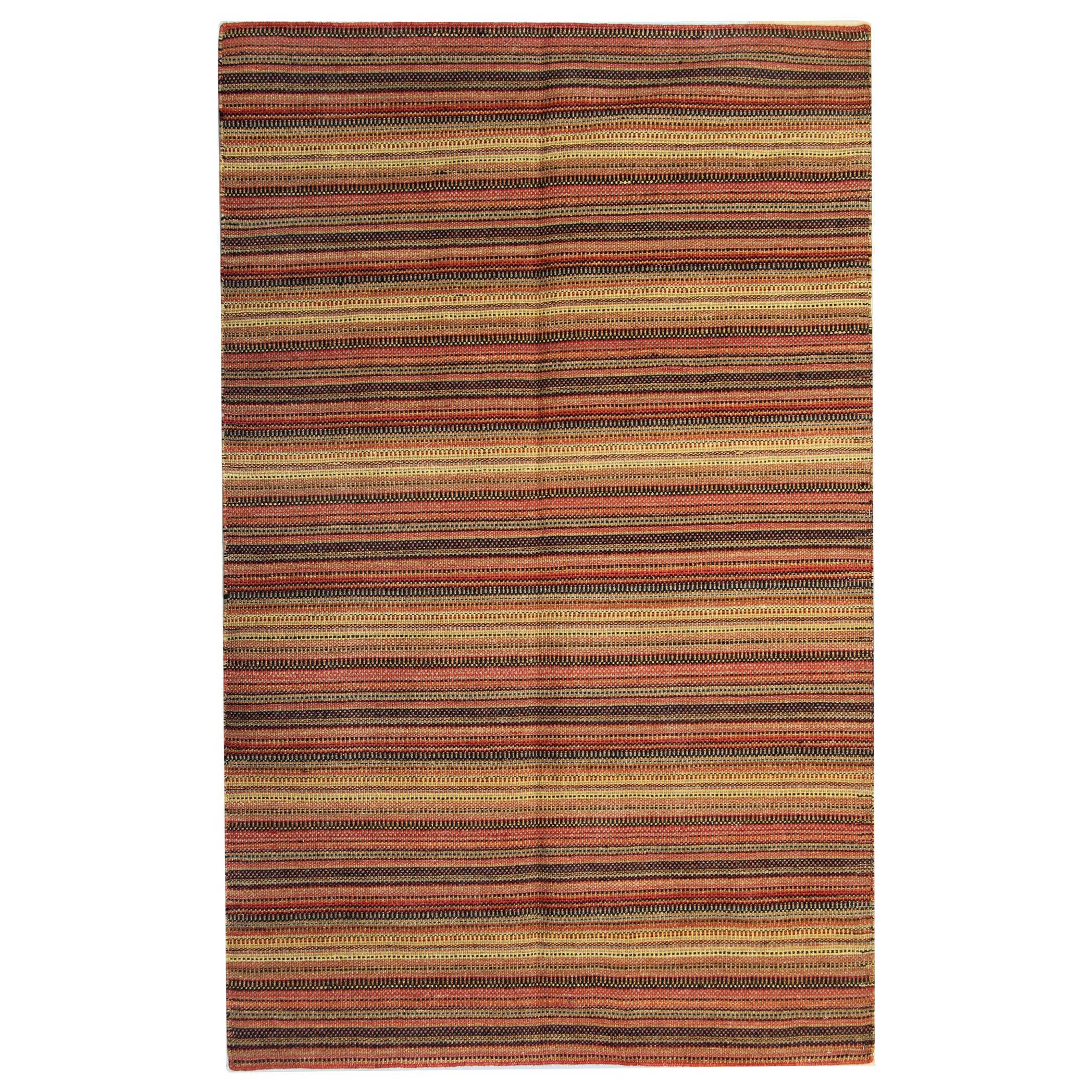 Modern Striped Kilim Rug Transitional Area Rug, Handmade Orange Kilims for Sale
