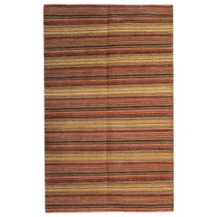 Modern Striped Kilim Rug Transitional Area Rug, Handmade Orange Kilims for Sale