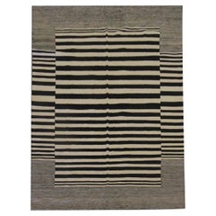 Modern Striped Kilim Rugs, Carpet Area Rug Black Scandinavian Style Kilims