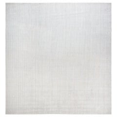 Modern Striped Light Brown and White Handwoven Wool Rug