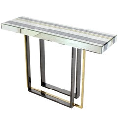 Modern Striped Mirror Tiles Top Console Smoked Chrome and Brass Legs