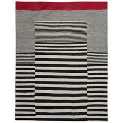 Modern Striped Kilim Rug Hand-Made in Afghanistan