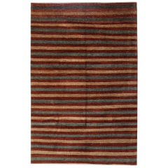 Modern Striped Rug Contemporary Oriental Rugs, Handwoven Carpet for Sale