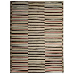Modern Striped Rug, Flat-Weave Kilim Rugs, Black and White Carpet Zebra Rug
