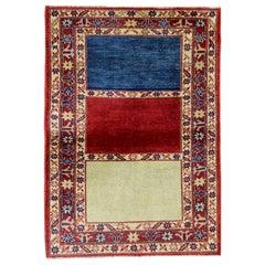 Modern Striped Rug, Kazak Handmade Carpet, Floor Afghan Rugs, Oriental Rug