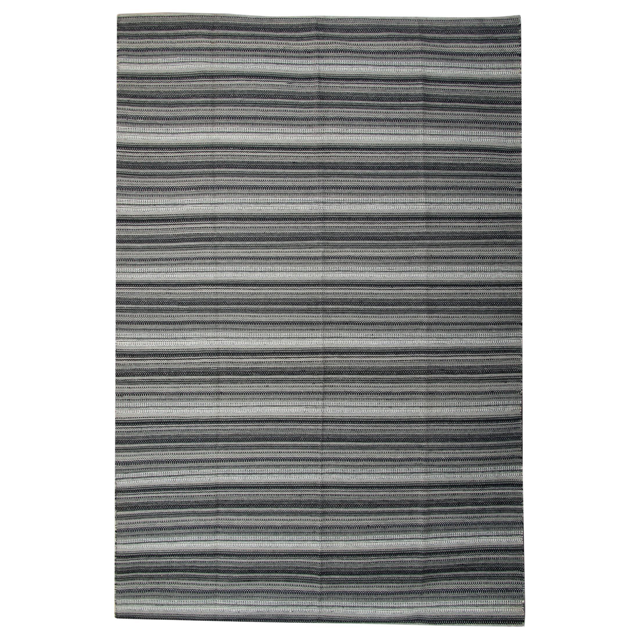 Modern Striped Rug Kilim Blue Transitional Flat-Weave Grey Kilim Rug