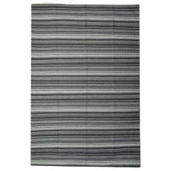 Modern Striped Rug Kilim Blue Transitional Flat-Weave Grey Kilim Rug