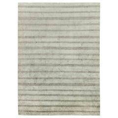 Modern Stripes in Shades of Light & Dark Gray Wool & Silk Custom Rug