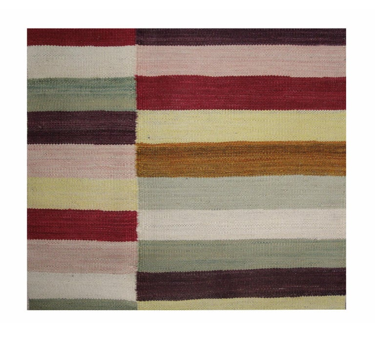 Modern Stripped Kilim Runner Qashqai Design, Geometrical Carpet Runner Stair Rug In New Condition For Sale In Hampshire, SO51 8BY