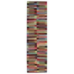 Modern Stripped Kilim Runner Qashqai Design, Geometrical Carpet Runner Stair Rug