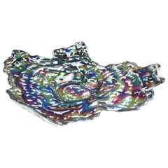 Modern Studio Art Glass Charger Bowl with Silver Back Layer
