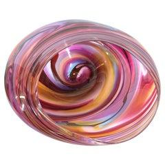 Modern Studio Art Glass Sculptural Bowl