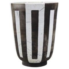 Modern Studio Pottery Vase with Geometric Pattern