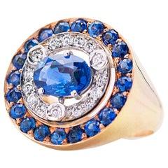 Modern Style 18 Carat Yellow Gold Cocktail White Diamonds Sapphires Design Ring