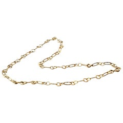 Modern Style 18 Karat Yellow Gold Handmade Slightly Hammered Big Links Necklace