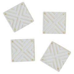 Modern Style Acrylic Cocktail Coasters with Chevron Design, Set of 4