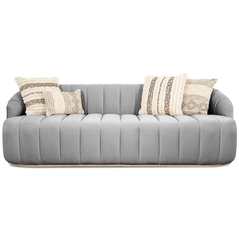 Modern Style Avalon Sofa with Channel Tufting in Velvet with Slim Wood Toe  Kick