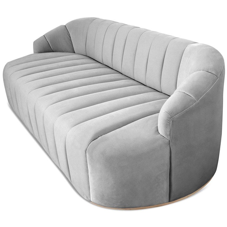 Modern Style Avalon Sofa with Channel Tufting in Velvet with Slim Wood Toe Kick For Sale 3