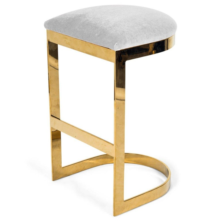 Modern Style Backless Bar Stool in Velvet with a Polished Solid Brass Frame For Sale 6