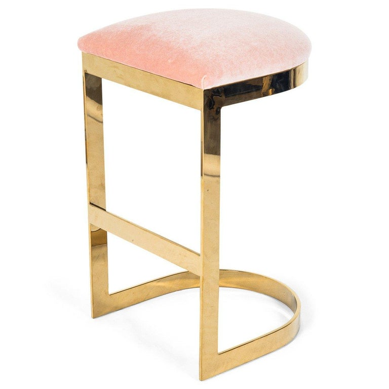 Modern Style Backless Bar Stool in Velvet with a Polished Solid Brass Frame For Sale 8