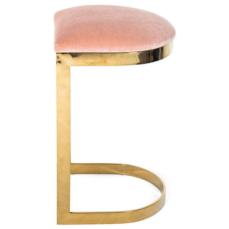 Modern Style Backless Bar Stool in Velvet with a Polished Solid Brass Frame For Sale 10
