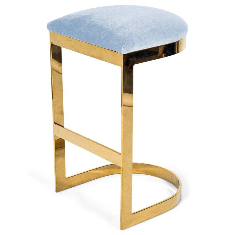 Modern Style Backless Bar Stool in Velvet with a Polished Solid Brass Frame For Sale 12