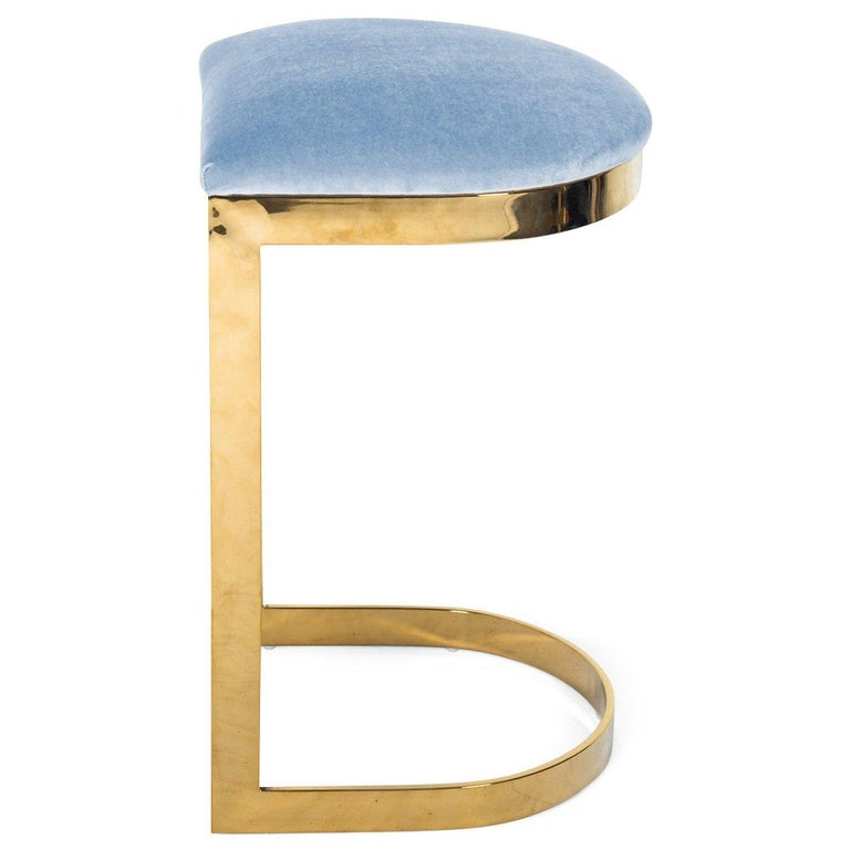 Modern Style Backless Bar Stool in Velvet with a Polished Solid Brass Frame For Sale 14