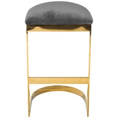 Modern Style Backless Bar Stool in Velvet with a Polished Solid Brass Frame
