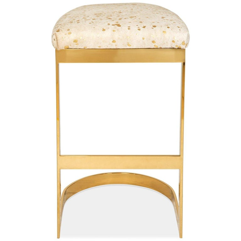 Chinese Modern Style Backless Counter or Bar Stool in Cowhide and Polished Brass Frame For Sale