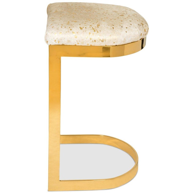 Modern Style Backless Counter or Bar Stool in Cowhide and Polished Brass Frame In New Condition For Sale In Compton, CA