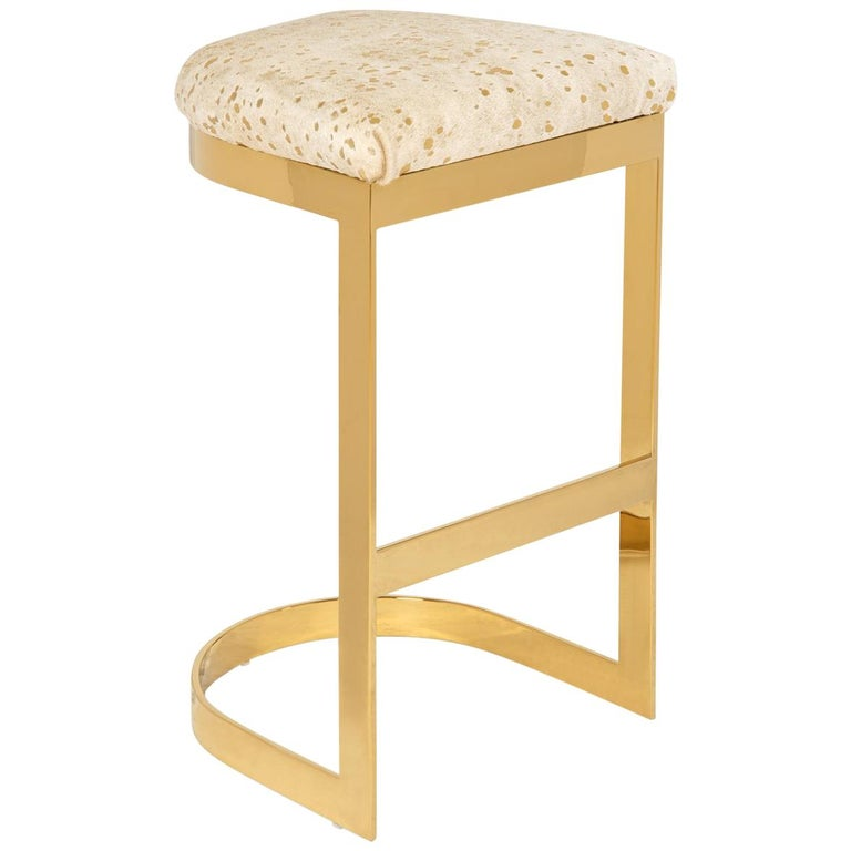 Modern Style Backless Counter or Bar Stool in Cowhide and Polished Brass Frame For Sale