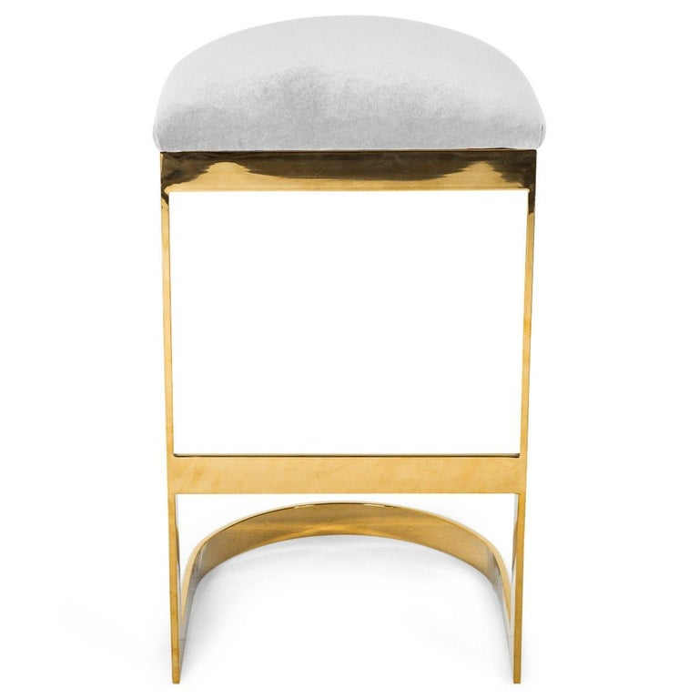 Modern Style Backless Counter Stool in Velvet with a Polished Solid Brass Frame For Sale 5