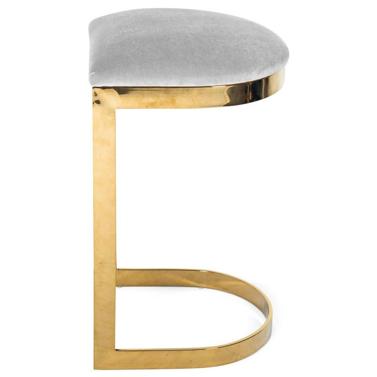 Modern Style Backless Counter Stool in Velvet with a Polished Solid Brass Frame For Sale 7