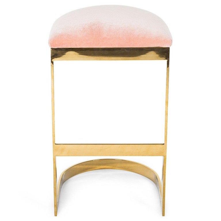Modern Style Backless Counter Stool in Velvet with a Polished Solid Brass Frame For Sale 9