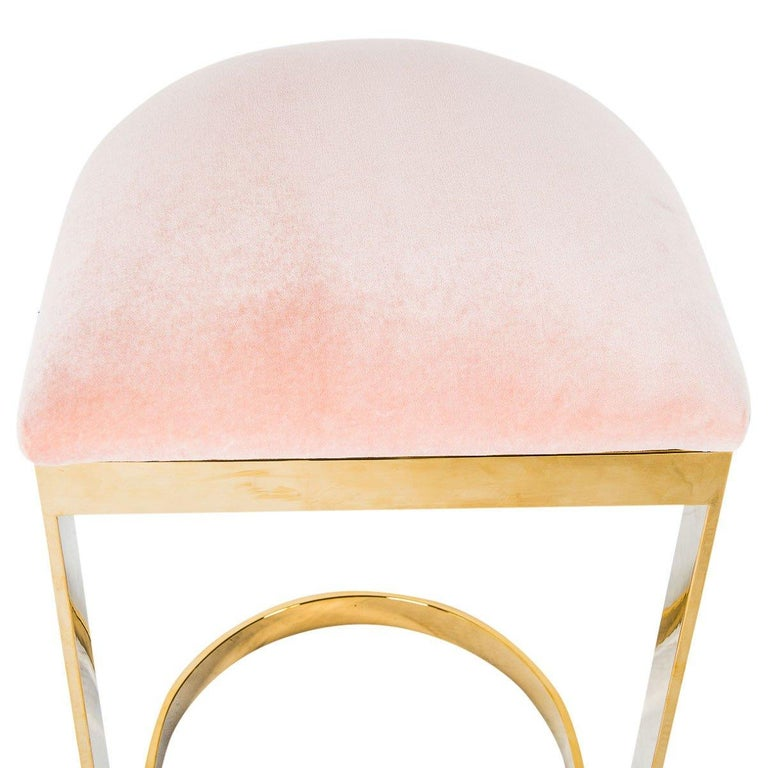 Modern Style Backless Counter Stool in Velvet with a Polished Solid Brass Frame For Sale 11