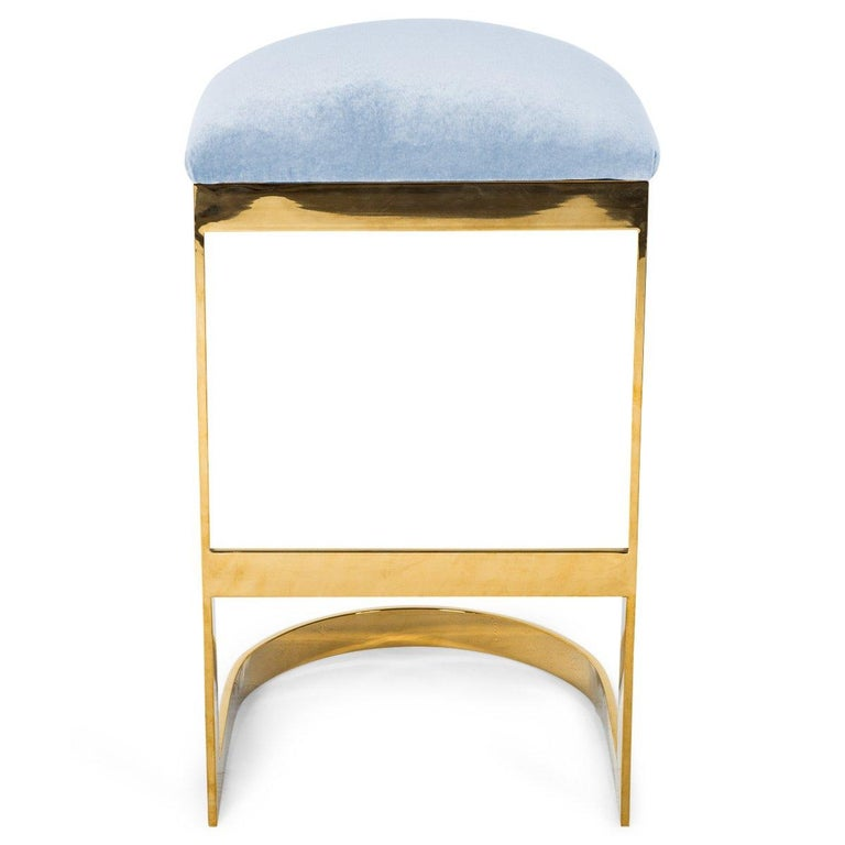Modern Style Backless Counter Stool in Velvet with a Polished Solid Brass Frame For Sale 13