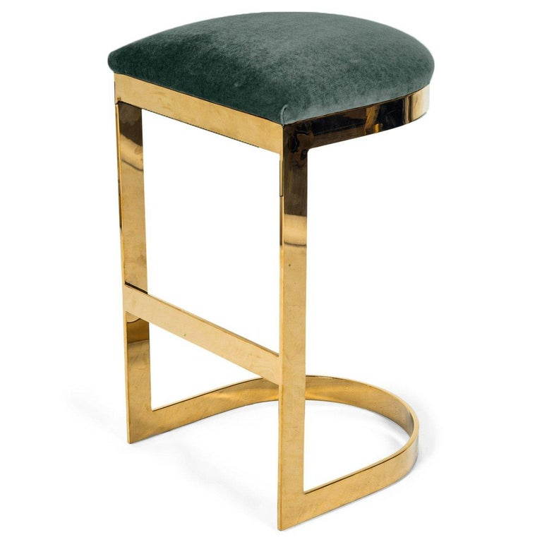 Chinese Modern Style Backless Counter Stool in Velvet with a Polished Solid Brass Frame For Sale