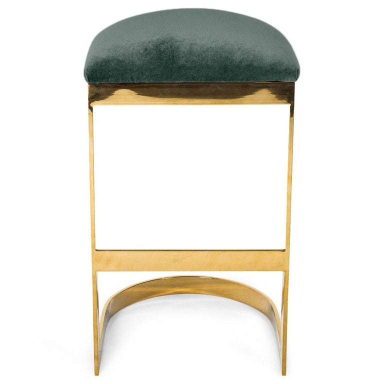 Modern Style Backless Counter Stool in Velvet with a Polished Solid Brass Frame In New Condition For Sale In Compton, CA