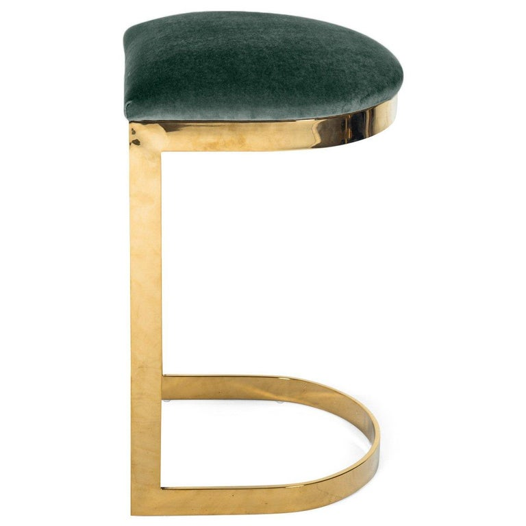 Contemporary Modern Style Backless Counter Stool in Velvet with a Polished Solid Brass Frame For Sale