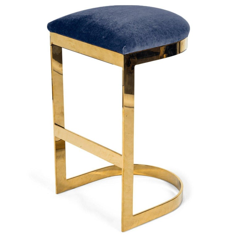 Modern Style Backless Counter Stool in Velvet with a Polished Solid Brass Frame For Sale 1