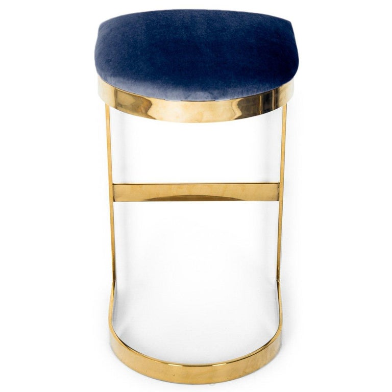 Modern Style Backless Counter Stool in Velvet with a Polished Solid Brass Frame For Sale 2