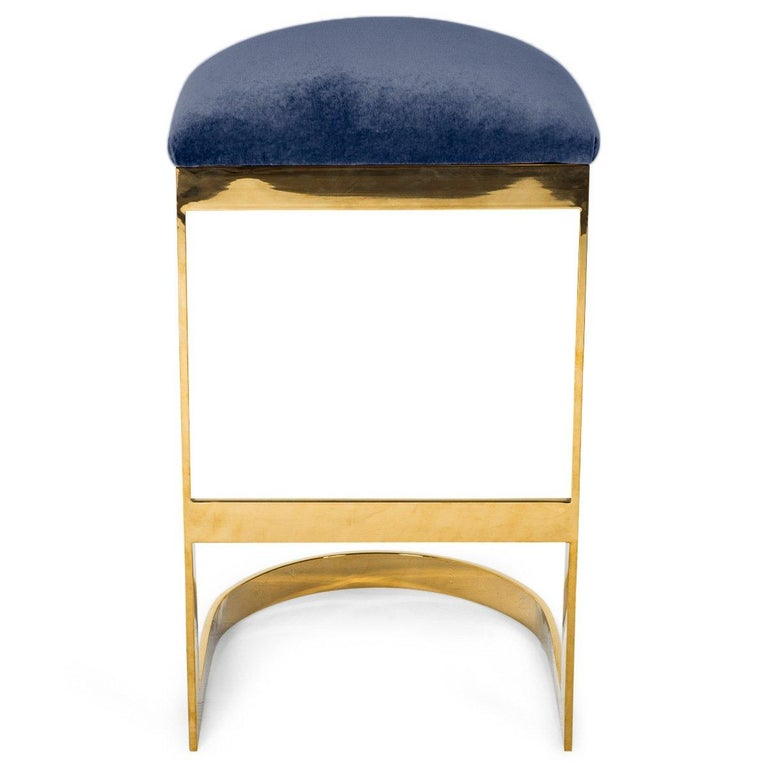 Modern Style Backless Counter Stool in Velvet with a Polished Solid Brass Frame For Sale 3