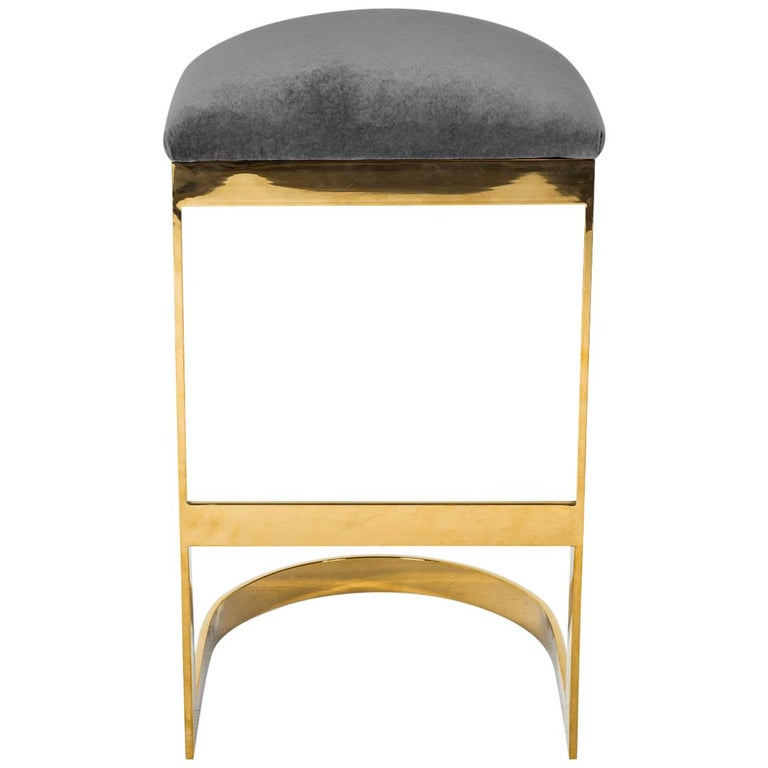 Modern Style Backless Counter Stool in Velvet with a Polished Solid Brass Frame For Sale